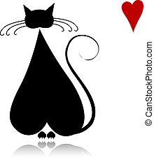 silhouette, amour, chat, noir, conception, ton