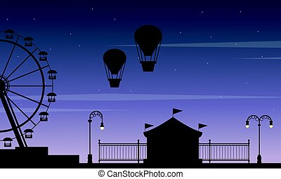 Silhouette amusement park beauty scenery