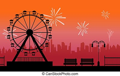 Silhouette amusement park with firework scenery