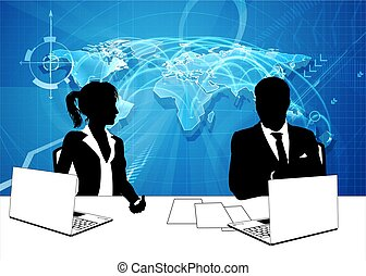 silhouette, ancre nouvelles, journaliste télé, présentateurs