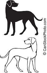 Silhouette and contour dog - Silhouette and contour ...