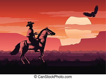 silhouette and monochrome scenery cowboy in Savannah field...