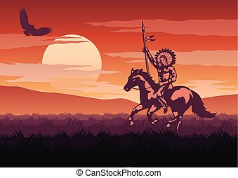 silhouette and monochrome scenery Red Indian go to hunt in...