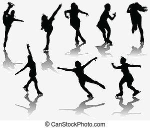 skating - Silhouette and shadows of ice skating, vector