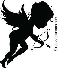 silhouette, ange, arc