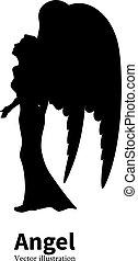 silhouette, angelo, vettore, ragazza, pregare, ali