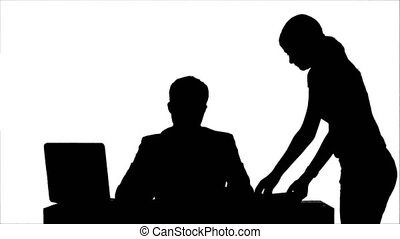 Silhouette Angry boss with female worker in office