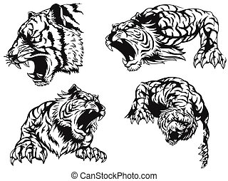 Silhouette angry tiger roaring head vector