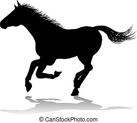 silhouette, animal, cheval
