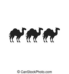 silhouette animal figure of camels flat icon