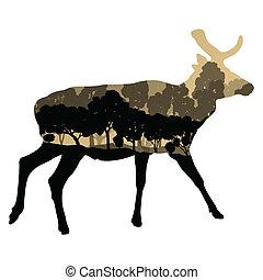 silhouette, animal, nature, résumé, cerf, illustration, vecteur, forêt, fond, sauvage, paysage