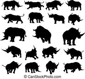 silhouette, animale, rinoceronte