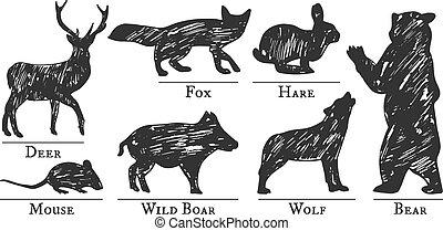 silhouette, animali, foresta