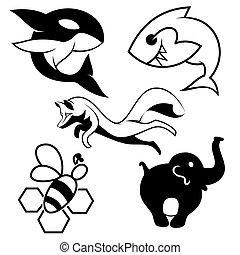 Silhouette animals vector illustration.