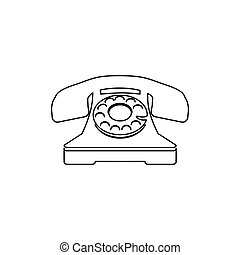 silhouette antique phone with auricular vector illustration