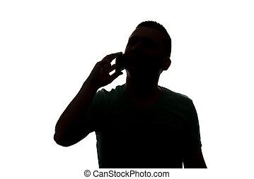 silhouette, appeler, téléphone, fond, blanc, homme