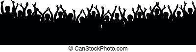 silhouette, applaudissements, applauding., gens, applaudir, isolé, foule, gai, fond, blanc, partie., vector.