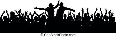 silhouette, applauso, folla, persone, coppia, battimano, rallegrare, pubblico, vector., festa