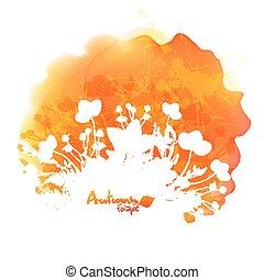 silhouette, aquarelle, vecteur, feuillage, orange, tache, blanc