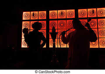 silhouette arab couple