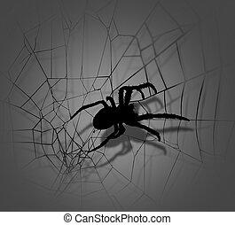 silhouette, araignés, toile araignée