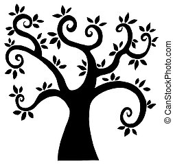 silhouette, arbre, dessin animé, noir