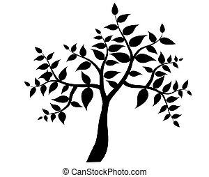 silhouette, arbre, isolé, fond, vecteur, noir, blanc