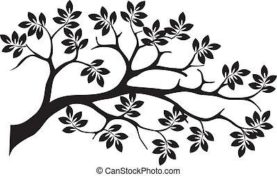 silhouette, arbre, isolé, noir