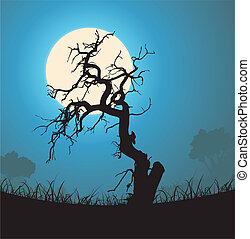 silhouette, arbre mort, clair lune