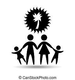 silhouette, arbre noix coco, vacances, famille