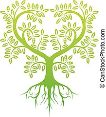 silhouette, arbre, vert