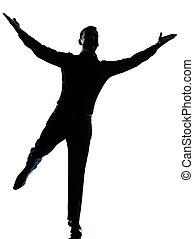 silhouette, arme, mann, ausbreitung, geschaeftswelt, ...