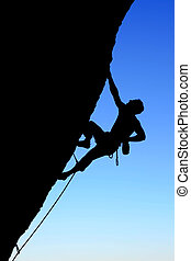 silhouette, arrampicatore, roccia