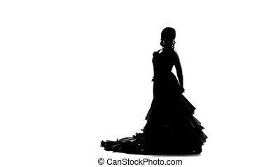 silhouette, arrière-plan., danse, danse, girl., sexuellement, blanc, flamenco