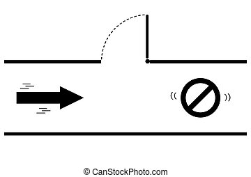 Silhouette arrow, direction for the exit, vector illustration