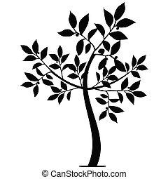 silhouette, arte, albero