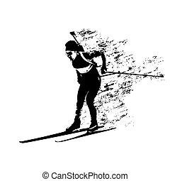 silhouette, astratto, corsa, biathlon, vettore, grungy, sciatore