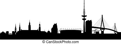 silhouette, astratto, nero, amburgo