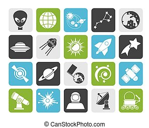 astronomy and space icons - Silhouette astronomy and space...