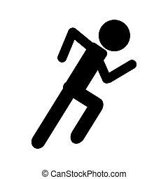 silhouette, athlétique, coureur, sport, actif