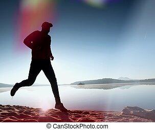 silhouette, athlet, morgen, läufer, aktiver lebensstil, rennender , sonnenaufgang, shore., übung, gesunde