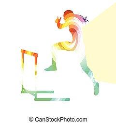 silhouette, atleet, achtergrond, hindernis, vrouwlijk, hardloop, kleurrijke, open plek, illustratie, concept