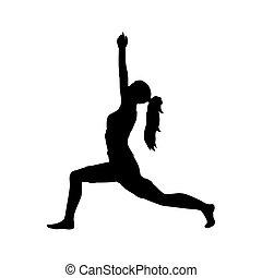 silhouette, atteggiarsi, flessibilità, yoga, ragazza, esercizio