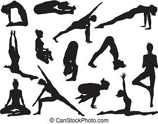 silhouette, atteggiarsi, yoga, donne