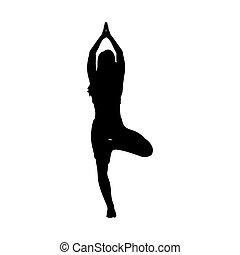 silhouette, atteggiarsi, yoga, ragazza, equilibrio, meditazione, esercizio