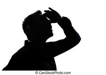 silhouette, auf, sehen vorwärts, porträt, gebärde, mann
