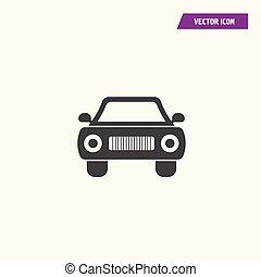 silhouette, auto, black , retro, voorkant, icon., aanzicht