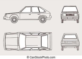 silhouette, auto, illustratie, achtergrond, vector, witte