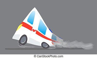 silhouette, auto, medico, ambulanza, illustrazione, evacuation., vettore, automobile., veicolo, emergency., paramedic, cartone animato