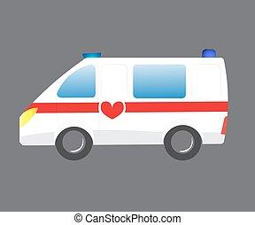 silhouette, auto, monde médical, ambulance, illustration, evacuation., vecteur, voiture., véhicule, emergency., infirmier, dessin animé